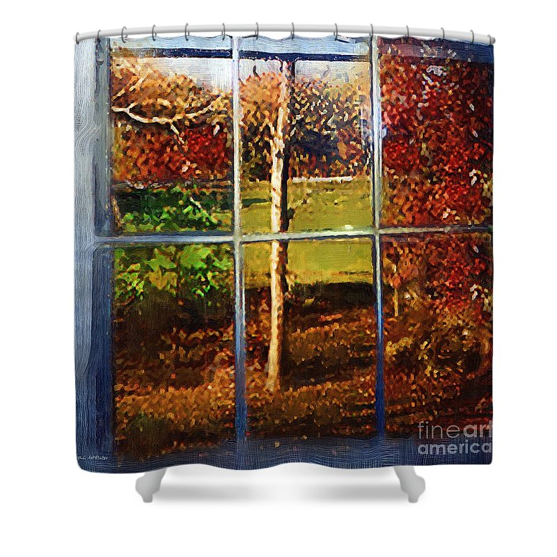 Landscape Shower Curtain featuring the painting Perspective On Fall by RC DeWinter