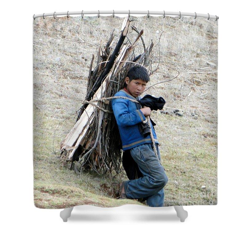 Landscape Shower Curtain featuring the photograph Peruvian Boy Gathers Wood by Barbie Corbett-Newmin