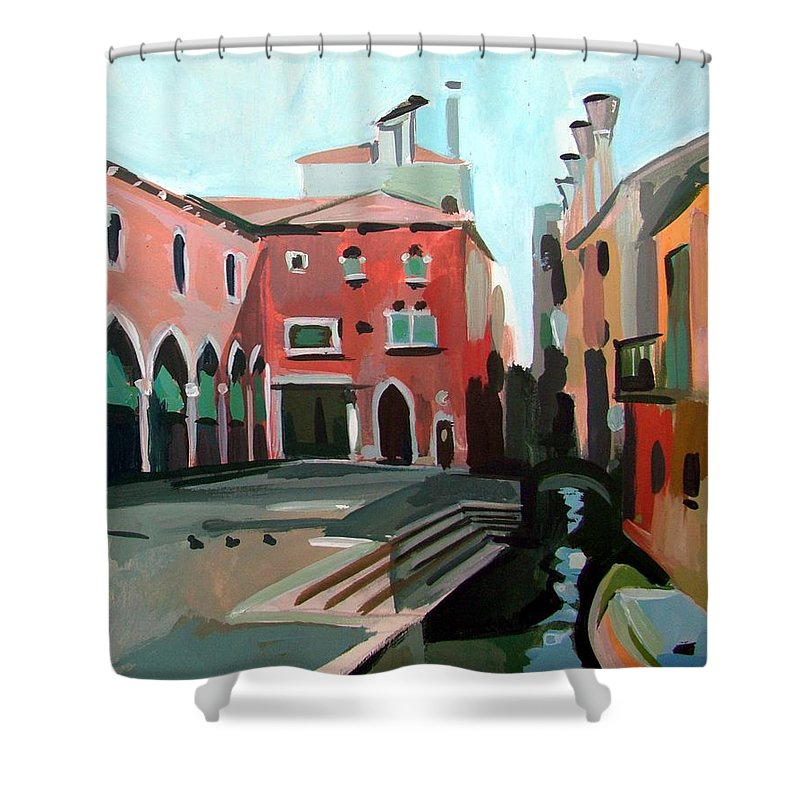 Venice Shower Curtain featuring the painting Pescheria by Filip Mihail