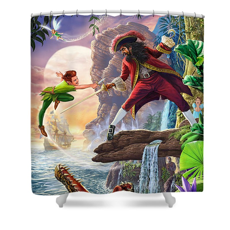 Peter Pan Shower Curtain Featuring The Painting And Captain Hook By MGL Meiklejohn Graphics