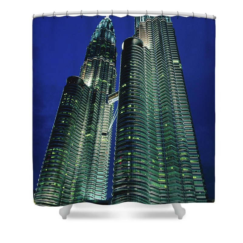 Southeast Asia Shower Curtain featuring the photograph Petronas Towers by John Elk