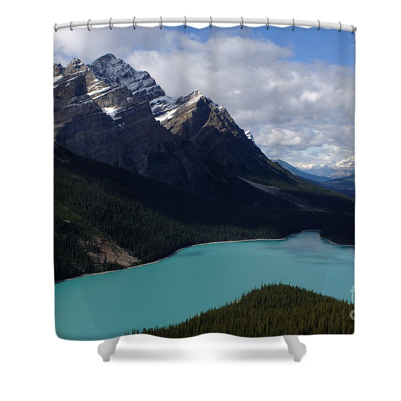Peyto Lake Shower Curtain featuring the photograph Peyto Lake Canadian Rockies by Bob Christopher