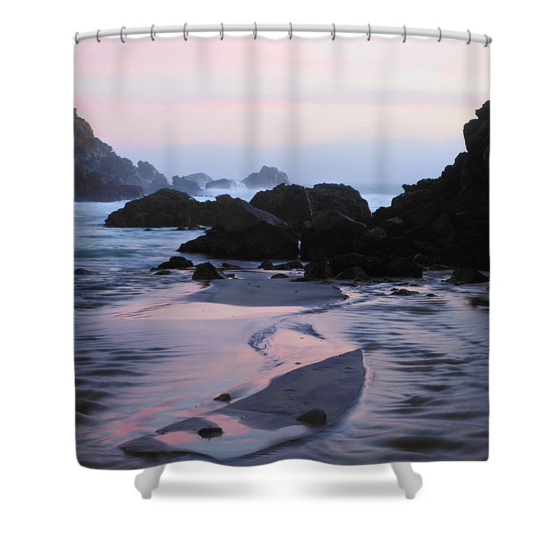 Water's Edge Shower Curtain featuring the photograph Pfeiffer Beach Rocks, Purple Sand And by Terryfic3d