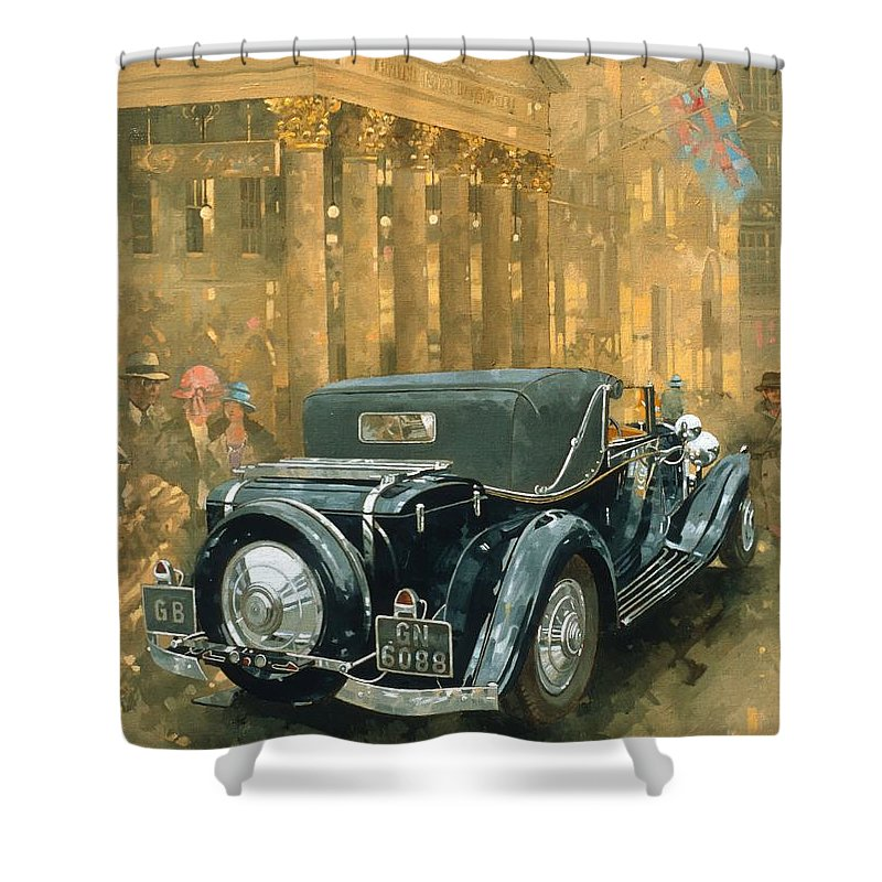 Rolls Royce Phantom Shower Curtain featuring the painting Phantom In The Haymarket by Peter Miller