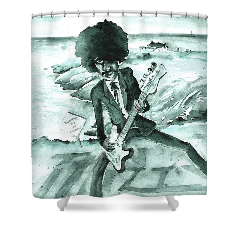 Travel Shower Curtain featuring the painting Phil Lynott In Howth by Miki De Goodaboom