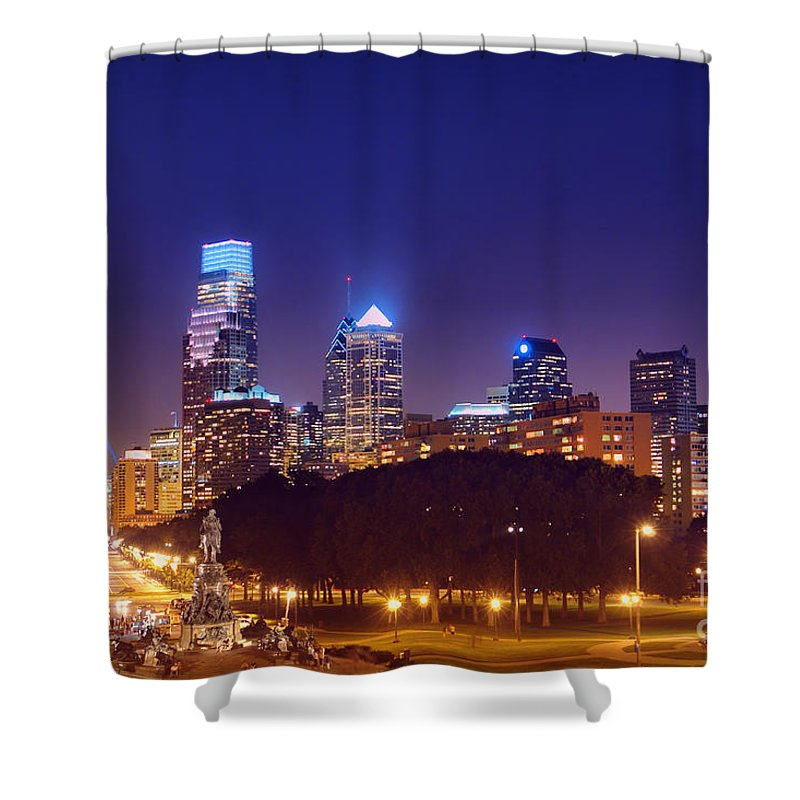 Philadelphia Shower Curtain featuring the photograph Philadelphia Nightscape by Olivier Le Queinec