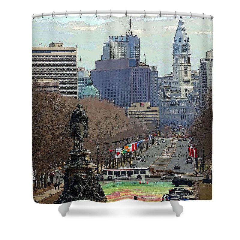 Philadelphia Shower Curtain featuring the photograph Philadelphia - The Parkway by Cindy Manero