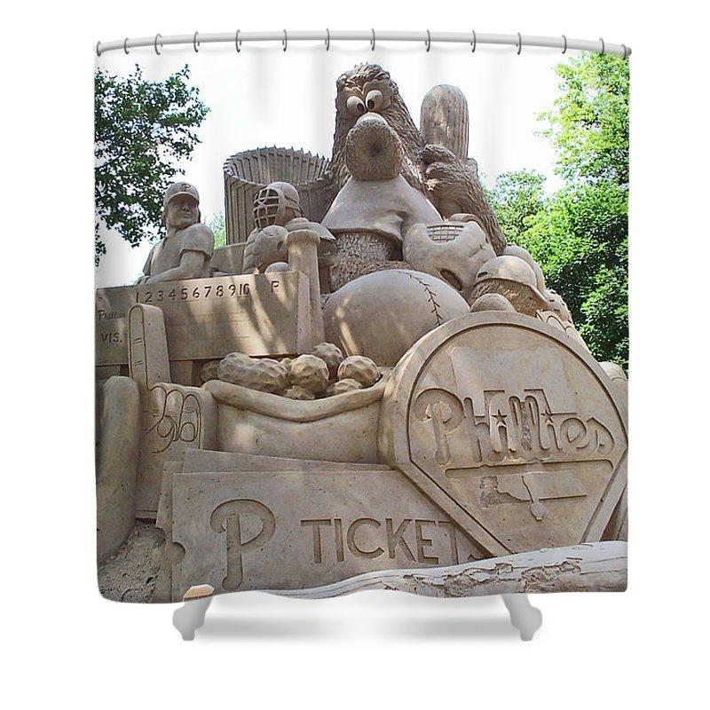 Phillies Shower Curtain featuring the photograph Phillies Sandsculpture by Barbara McDevitt