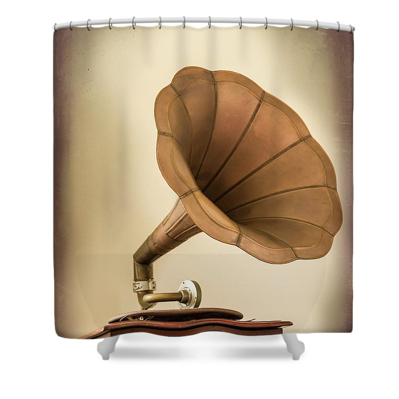 Music Shower Curtain featuring the photograph Phonograph Record Player by Gary S Chapman