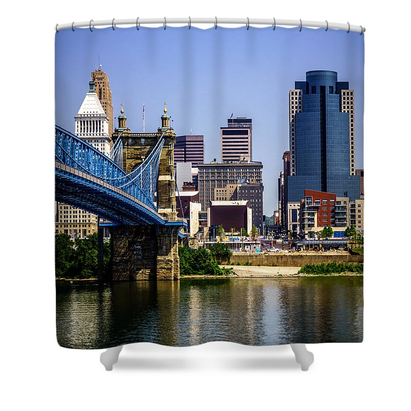 2012 Shower Curtain featuring the photograph Photo Of Cincinnati Buildings And Roebling Bridge by Paul Velgos