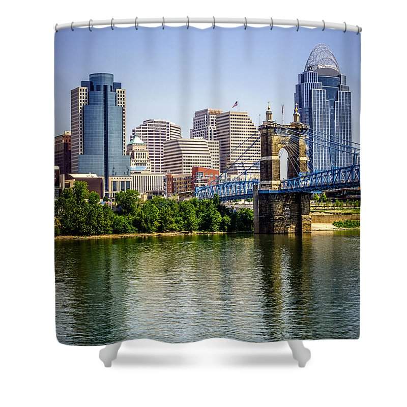 2012 Shower Curtain featuring the photograph Photo Of Cincinnati Skyline And Roebling Bridge by Paul Velgos