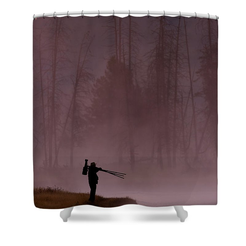 Photographer Shower Curtain featuring the photograph Photographer At Sunrise On The Madison River by Gary Langley