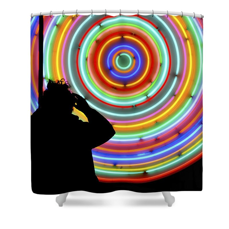 Neon Shower Curtain Featuring The Photograph Photographer Standing In Front Of Lights Circles By Dutourdumonde