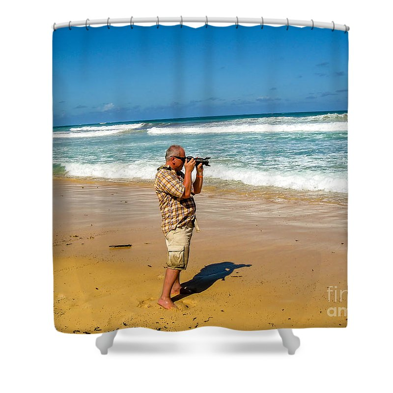 Photographer Shower Curtain featuring the photograph Photorgapher Near The Ocean by Viktor Birkus