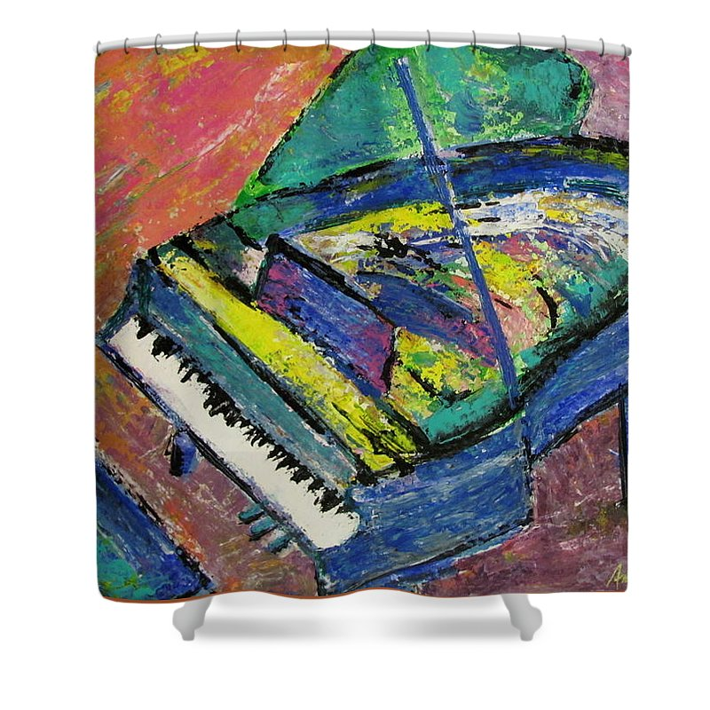 Piano Shower Curtain featuring the painting Piano Blue by Anita Burgermeister
