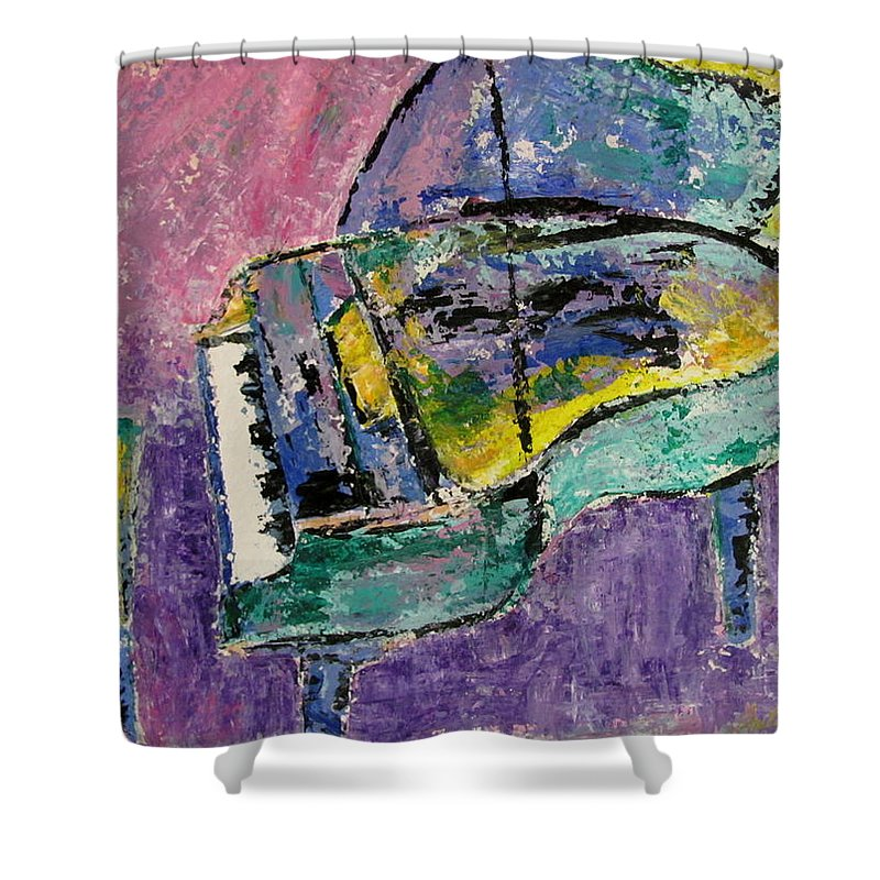 Impressionist Shower Curtain featuring the painting Piano Green by Anita Burgermeister