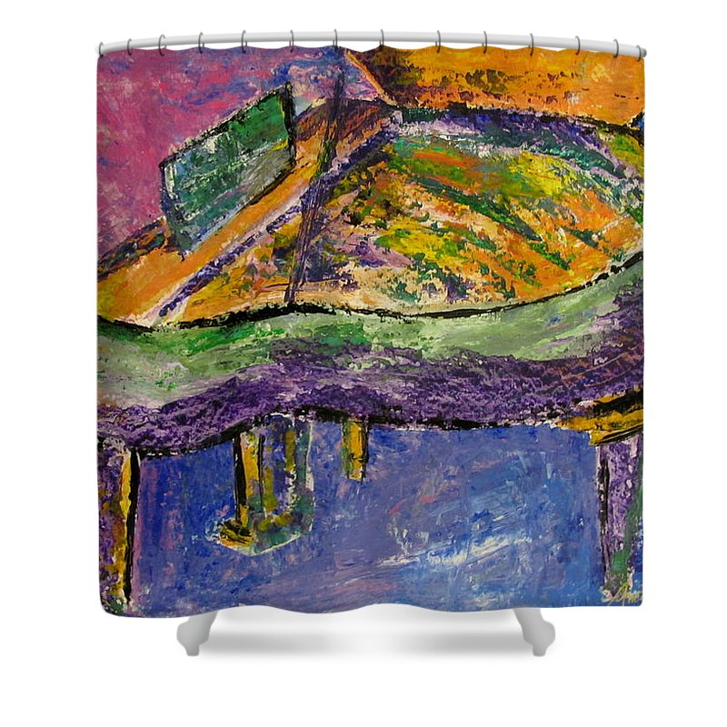 Impressionist Shower Curtain featuring the painting Piano Purple by Anita Burgermeister