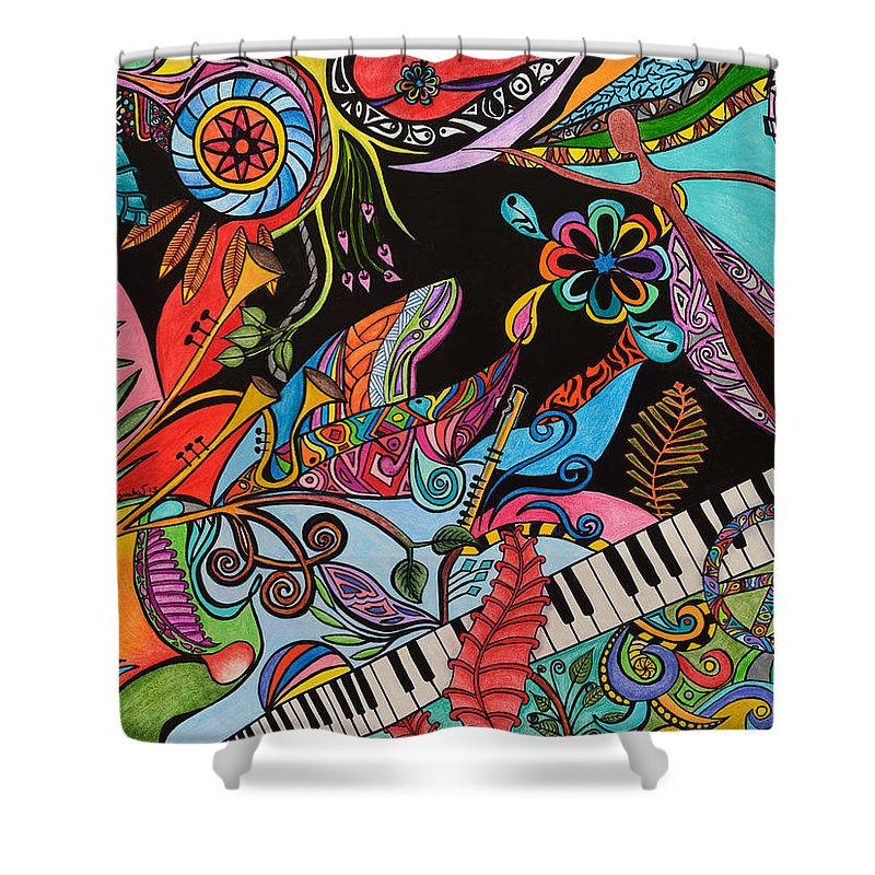Piano Shower Curtain featuring the painting Piano by Rebeca Rambal