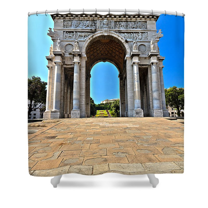 Memorial Shower Curtain featuring the photograph Piazza Della Vittoria - Genova. Italy by Antonio Scarpi