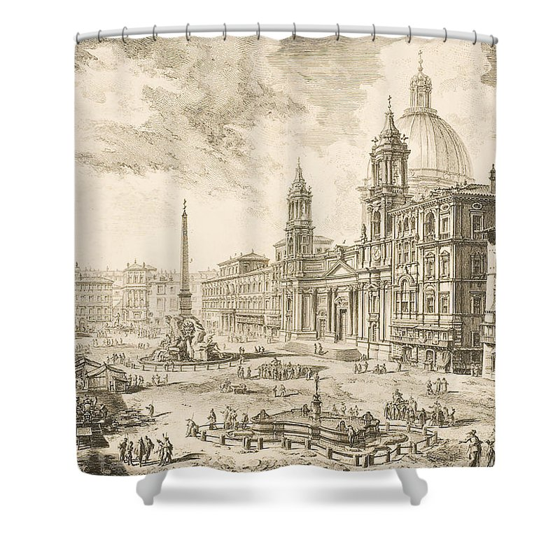 Piazza Navona Shower Curtain featuring the drawing Piazza Navona by Giovanni Battista Piranesi