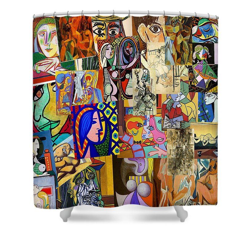 Picasso Shower Curtain Featuring The Digital Art Collage By Galeria Trompiz