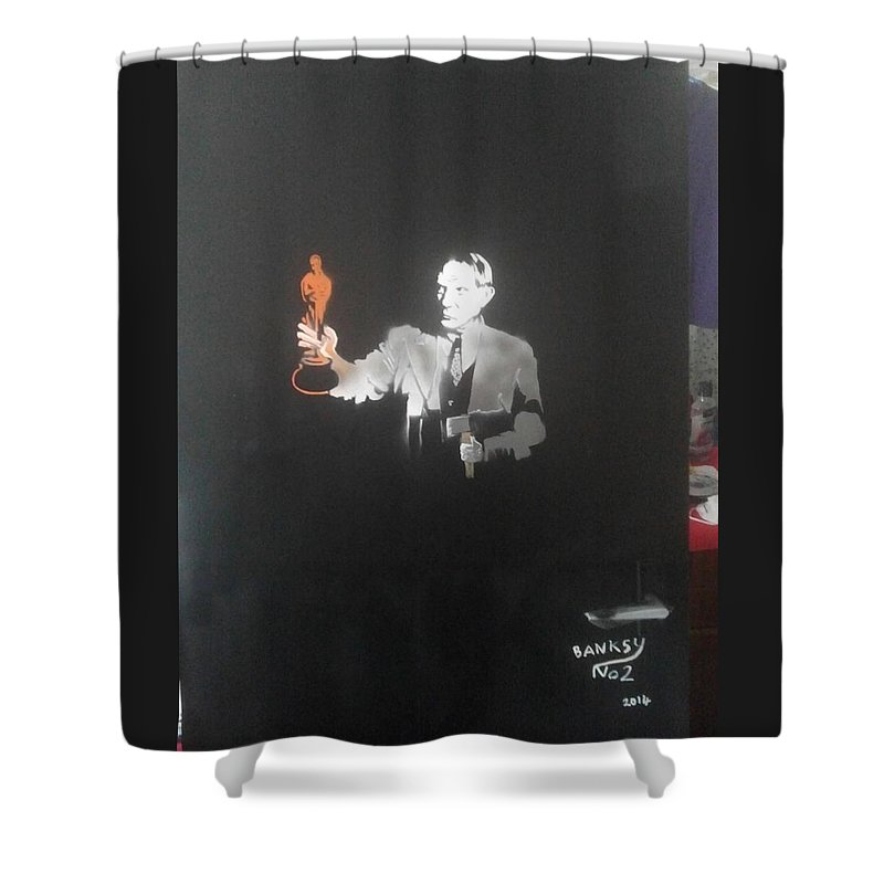 Figurative   Shower Curtain featuring the painting Pablo Picasso  With Axe And Oscar Tribute To Robin Williams by MERLIN Vernon