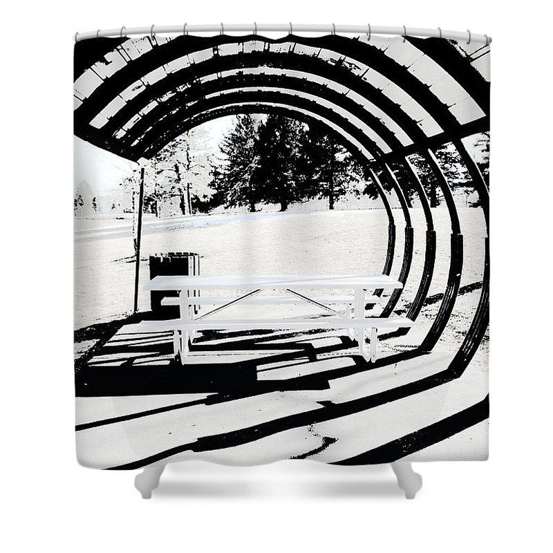 Park Bench Shower Curtain featuring the photograph Picnic Table And Gazebo by Ric Bascobert
