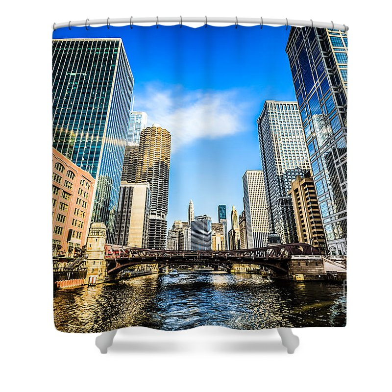 America Shower Curtain featuring the photograph Picture Of Chicago River Skyline At Clark Street Bridge by Paul Velgos