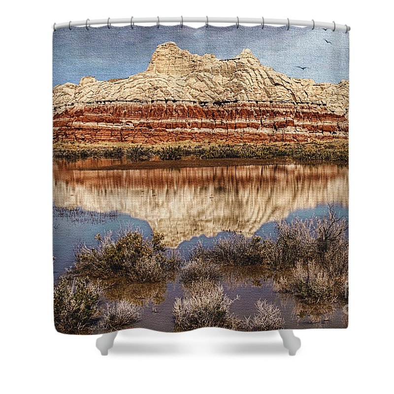 Picturesque Blue Canyon Formations Shower Curtain featuring the photograph Picturesque Blue Canyon Formations by Priscilla Burgers