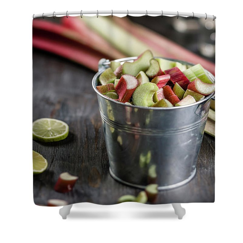Bucket Shower Curtain featuring the photograph Pieces Of Rhubarb In Metal Bucket And by Westend61