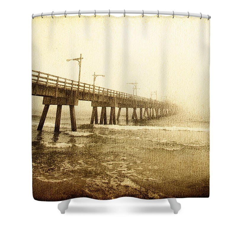Pier Shower Curtain featuring the photograph Pier In A Storm by Skip Nall