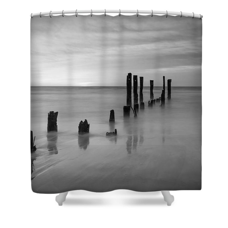 Milky Way Mike Shower Curtain featuring the photograph Pier Into The Past Bw 16x9 by Michael Ver Sprill