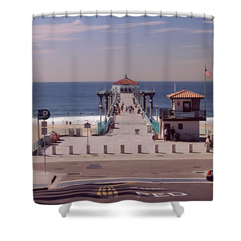 Photography Shower Curtain featuring the photograph Pier Over An Ocean, Manhattan Beach by Panoramic Images