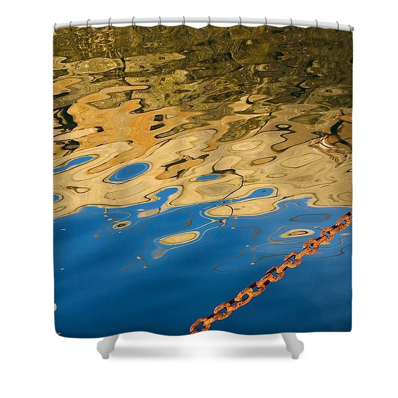 Abstract Shower Curtain featuring the photograph Pier Reflection And Rusty Chain by Stuart Litoff