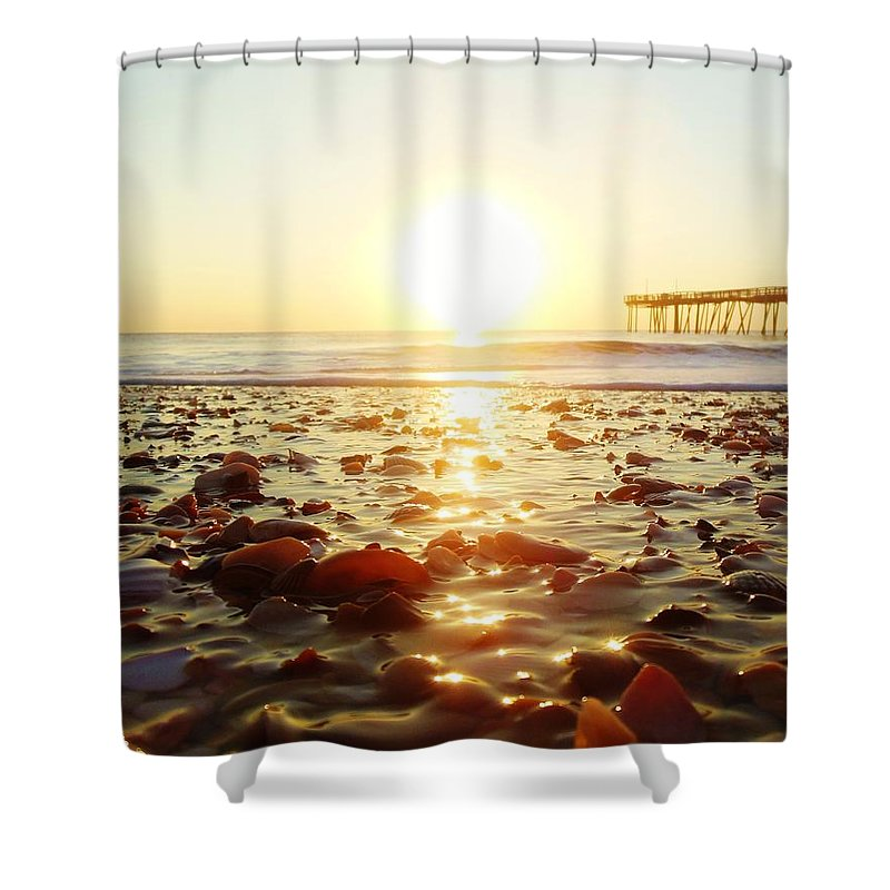 Mark Lemmon Cape Hatteras Nc The Outer Banks Photographer Subjects From Sunrise Shower Curtain featuring the photograph Pier Shells And Sunrise 15 10/2 by Mark Lemmon
