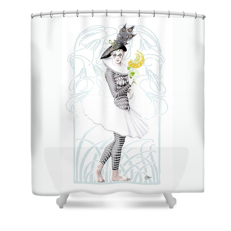 Pierrette Shower Curtain featuring the digital art Pierrette In Love by Quim Abella