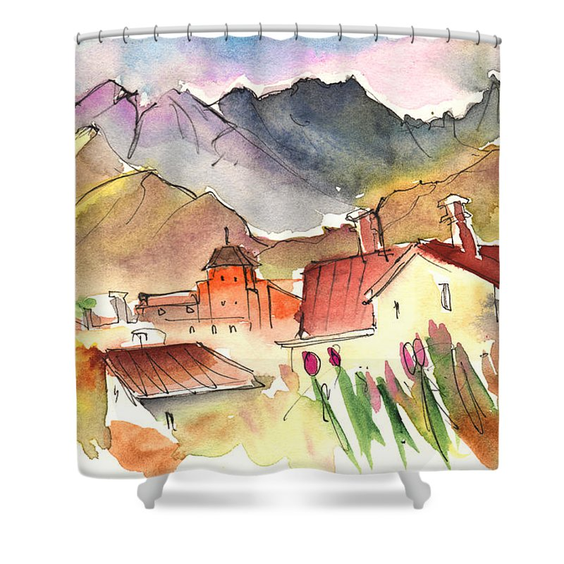 Travel Shower Curtain featuring the painting Pietrasanta In Italy 04 by Miki De Goodaboom