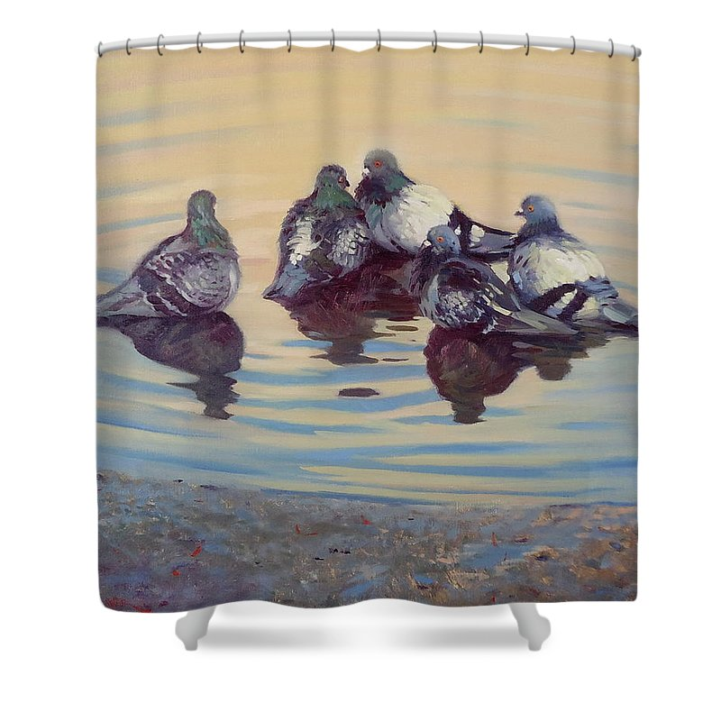 Pigeons Shower Curtain featuring the painting Pigeon Talk by Dianne Panarelli Miller