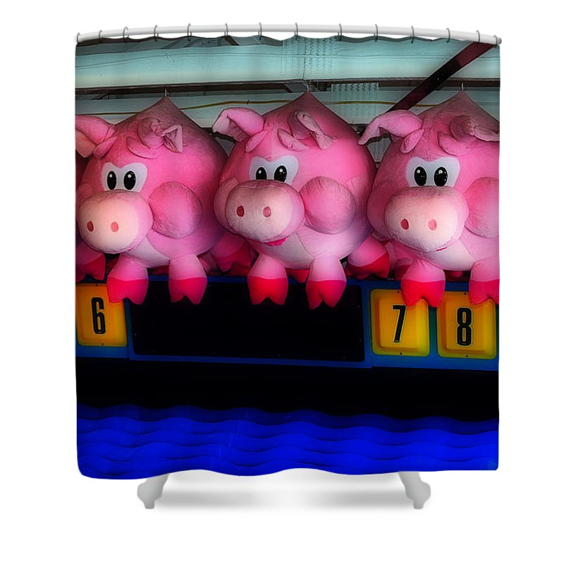 Fair Shower Curtain featuring the photograph Piggy Race by Skip Willits