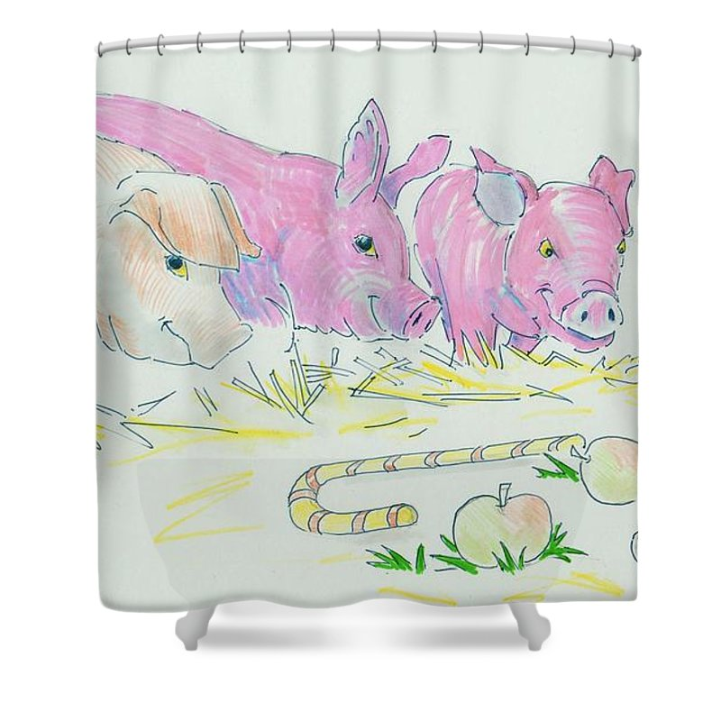 Cute Shower Curtain featuring the drawing Pigs Cartoon by Mike Jory