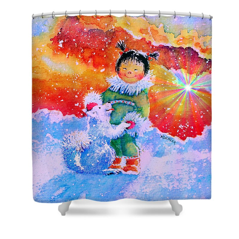 Bedroom Shower Curtain featuring the painting Pigtails And Wagging Tail by Hanne Lore Koehler