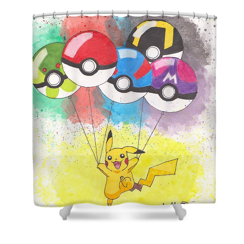Pikachu Shower Curtain Featuring The Drawing With Pokemon Balls By Loren Hill