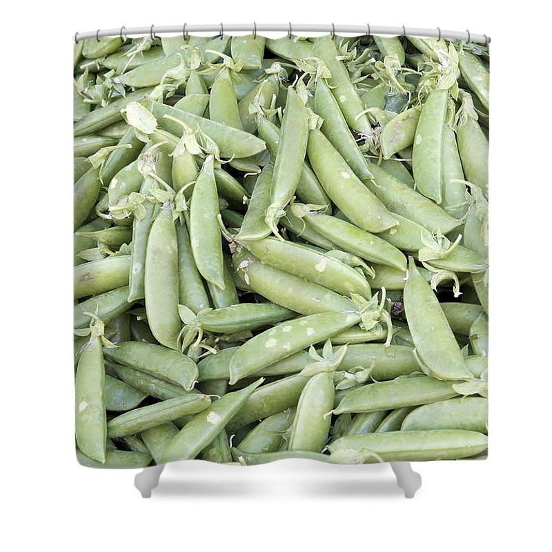 Sugar Shower Curtain featuring the photograph Pile Of Sugar Peas Background by Jit Lim