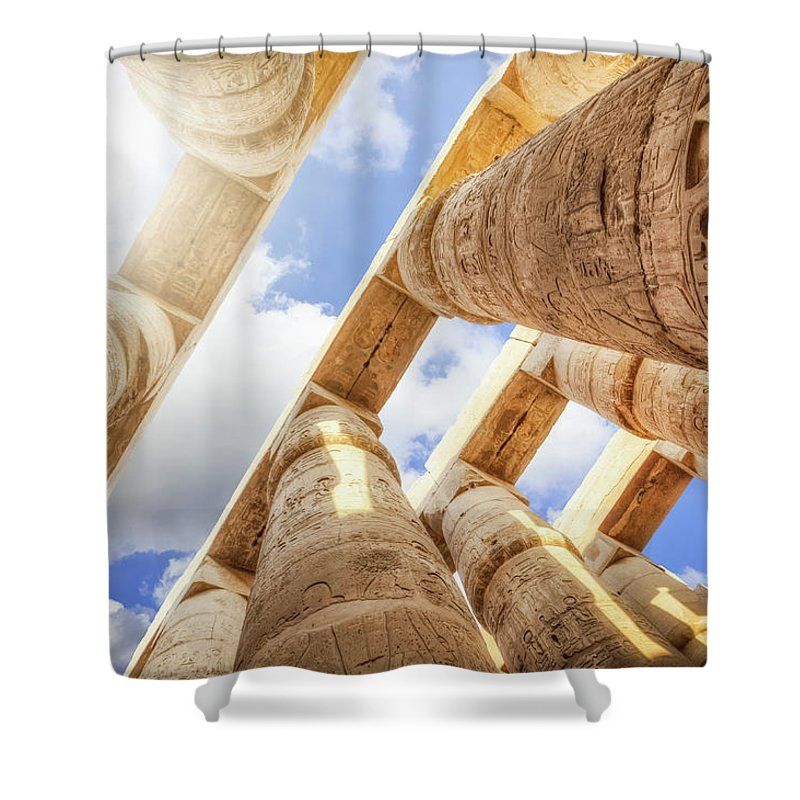 Ancient History Shower Curtain featuring the photograph Pillars Of The Great Hypostyle Hall by Cinoby