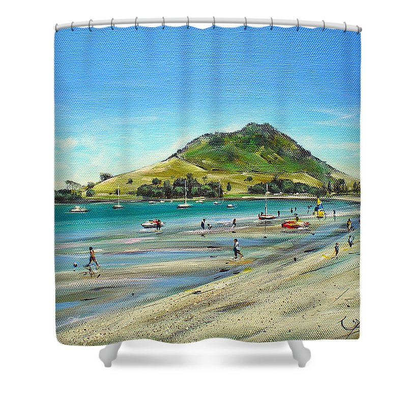 Beach Shower Curtain featuring the painting Pilot Bay Mt M 050110 by Sylvia Kula