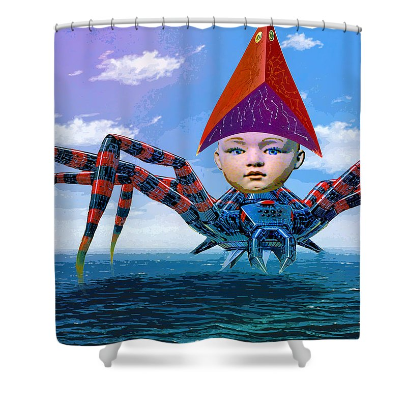 Pilot Shower Curtain featuring the mixed media Pilot by Dominic Piperata