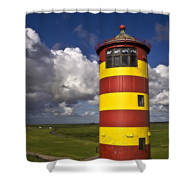 Heiko Shower Curtain featuring the photograph Pilsum Lighthouse by Heiko Koehrer-Wagner