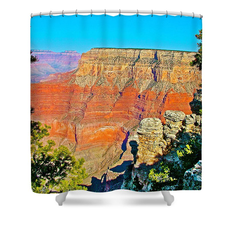 Pima Point From South Rim In Grand Canyon National Park Shower Curtain featuring the photograph Pima Point From South Rim In Grand Canyon National Park-arizona by Ruth Hager