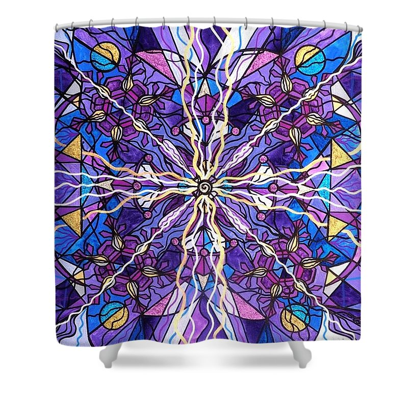 Pineal Opening Shower Curtain featuring the painting Pineal Opening by Teal Eye Print Store