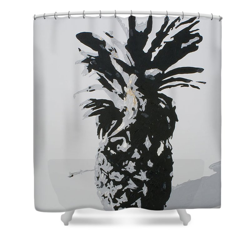 Pineapple Shower Curtain featuring the painting Pineapple by Katharina Filus